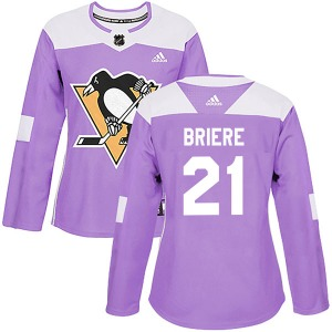 Michel Briere Pittsburgh Penguins Adidas Women's Authentic Fights Cancer Practice Jersey (Purple)