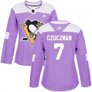 Kevin Czuczman Pittsburgh Penguins Adidas Women's Authentic ized Fights Cancer Practice Jersey (Purple)