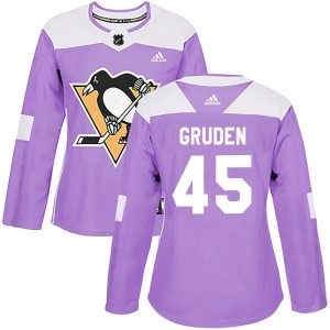 Jonathan Gruden Pittsburgh Penguins Adidas Women's Authentic Fights Cancer Practice Jersey (Purple)