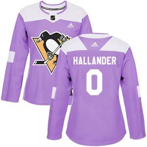 Filip Hallander Pittsburgh Penguins Adidas Women's Authentic Fights Cancer Practice Jersey (Purple)
