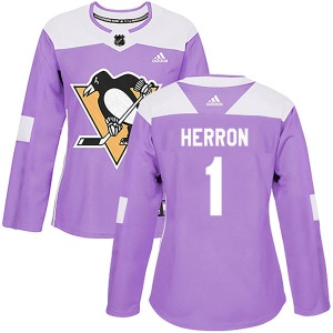 Denis Herron Pittsburgh Penguins Adidas Women's Authentic Fights Cancer Practice Jersey (Purple)