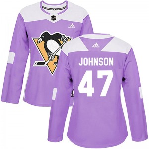 Adam Johnson Pittsburgh Penguins Adidas Women's Authentic Fights Cancer Practice Jersey (Purple)