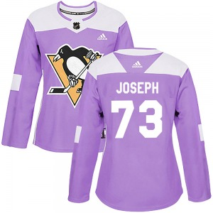 Pierre-Olivier Joseph Pittsburgh Penguins Adidas Women's Authentic ized Fights Cancer Practice Jersey (Purple)