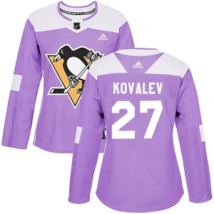 Alex Kovalev Pittsburgh Penguins Adidas Women's Authentic Fights Cancer Practice Jersey (Purple)