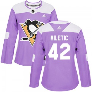Sam Miletic Pittsburgh Penguins Adidas Women's Authentic Fights Cancer Practice Jersey (Purple)