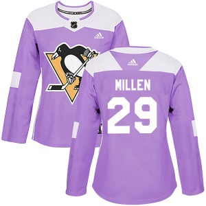 Greg Millen Pittsburgh Penguins Adidas Women's Authentic Fights Cancer Practice Jersey (Purple)