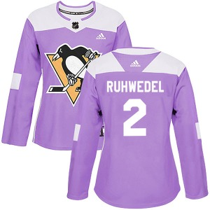 Chad Ruhwedel Pittsburgh Penguins Adidas Women's Authentic Fights Cancer Practice Jersey (Purple)