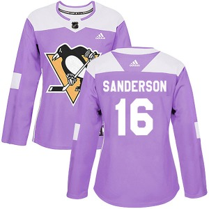 Derek Sanderson Pittsburgh Penguins Adidas Women's Authentic Fights Cancer Practice Jersey (Purple)