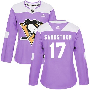 Tomas Sandstrom Pittsburgh Penguins Adidas Women's Authentic Fights Cancer Practice Jersey (Purple)