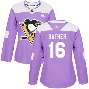 Glen Sather Pittsburgh Penguins Adidas Women's Authentic Fights Cancer Practice Jersey (Purple)