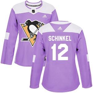 Ken Schinkel Pittsburgh Penguins Adidas Women's Authentic Fights Cancer Practice Jersey (Purple)