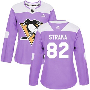 Martin Straka Pittsburgh Penguins Adidas Women's Authentic Fights Cancer Practice Jersey (Purple)