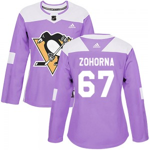 Radim Zohorna Pittsburgh Penguins Adidas Women's Authentic Fights Cancer Practice Jersey (Purple)