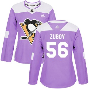 Sergei Zubov Pittsburgh Penguins Adidas Women's Authentic Fights Cancer Practice Jersey (Purple)