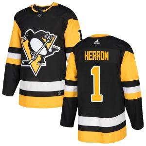 Denis Herron Pittsburgh Penguins Adidas Authentic Home Jersey (Black)