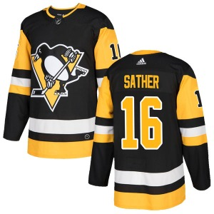 Glen Sather Pittsburgh Penguins Adidas Authentic Home Jersey (Black)