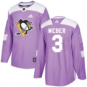 Yannick Weber Pittsburgh Penguins Adidas Youth Authentic Fights Cancer Practice Jersey (Purple)