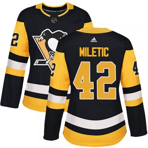 Sam Miletic Pittsburgh Penguins Adidas Women's Authentic Home Jersey (Black)