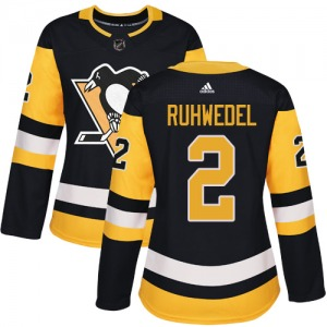 Chad Ruhwedel Pittsburgh Penguins Adidas Women's Authentic Home Jersey (Black)
