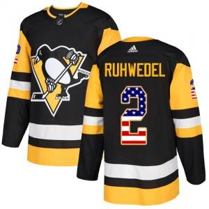 Chad Ruhwedel Pittsburgh Penguins Adidas Authentic USA Flag Fashion Jersey (Black)