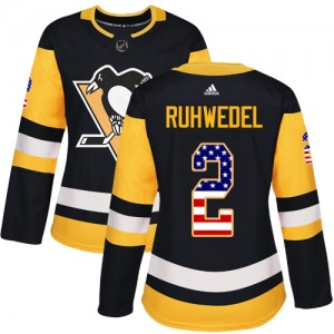 Chad Ruhwedel Pittsburgh Penguins Adidas Women's Authentic USA Flag Fashion Jersey (Black)